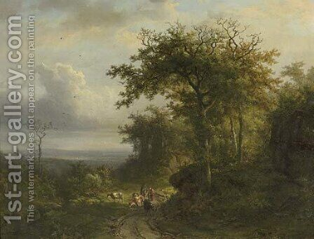 Peasants on a wooded path, a valley beyond; and peasants entering a chapel in a wooded valley by (after) Barend Cornelis Koekkoek - Reproduction Oil Painting