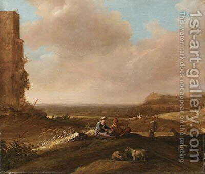 A Shepherd and Shepherdess with a Dog and Sheep in an extensive Landscape by (after) Bartholomeus Breenbergh - Reproduction Oil Painting