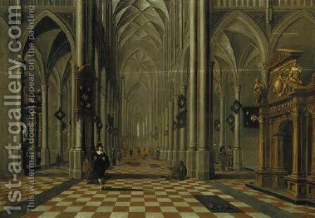 The interior of a Gothic church looking east, with elegant company and other figures by (after) Bartholomeus Van Bassen - Reproduction Oil Painting