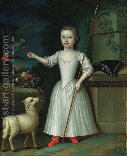 Portrait of a young girl, said to be Miss Mildred Drew by (after) Bartholomew Dandridge - Reproduction Oil Painting