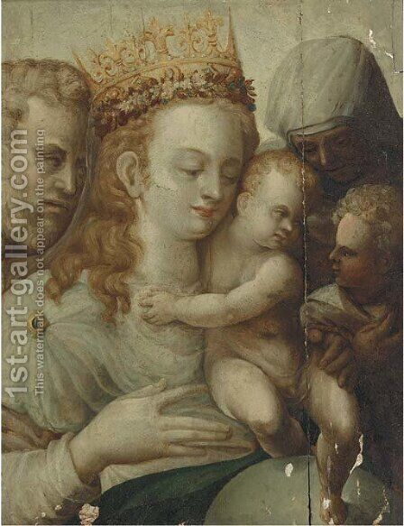 The Holy Family with Saints Anne and John the Baptist by (after) Bartolomeo Neroni - Reproduction Oil Painting