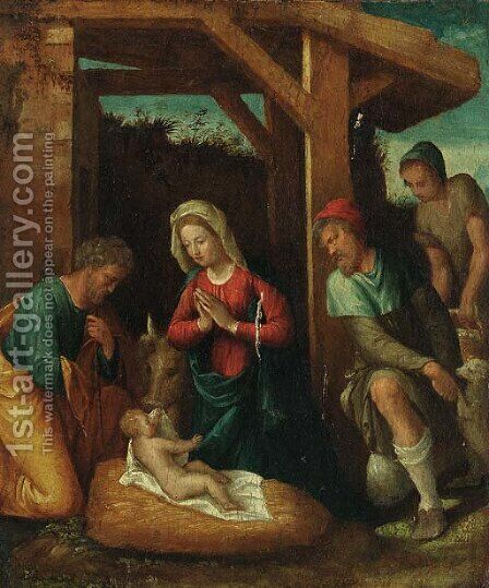 The Adoration of the Shepherds by (after) Benvenuto De Garofalo - Reproduction Oil Painting