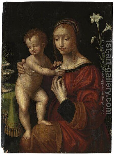 The Virgin and Child by (after) Bernardino Luini - Reproduction Oil Painting