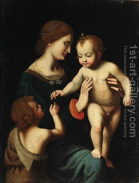 The Madonna and Child with the Infant Saint John the Baptist by (after) Bernardino Luini - Reproduction Oil Painting