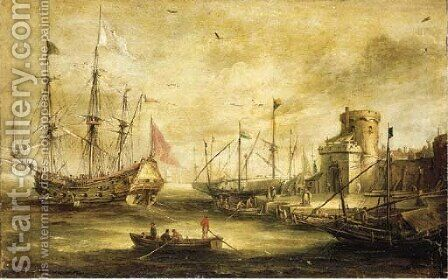 A Dutch port with a Man-of-War by (after) Bonaventura Peeters - Reproduction Oil Painting