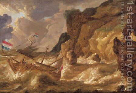 A threemaster lowering sail off a rocky coast in a gale by (after) Bonaventura Peeters I - Reproduction Oil Painting