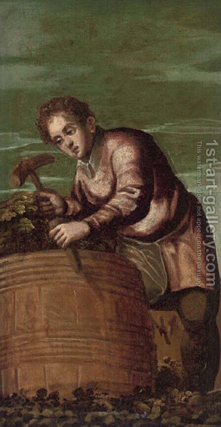 A wine harvester, a fragment by (after) Bonifacio Veronese (Pitati) - Reproduction Oil Painting