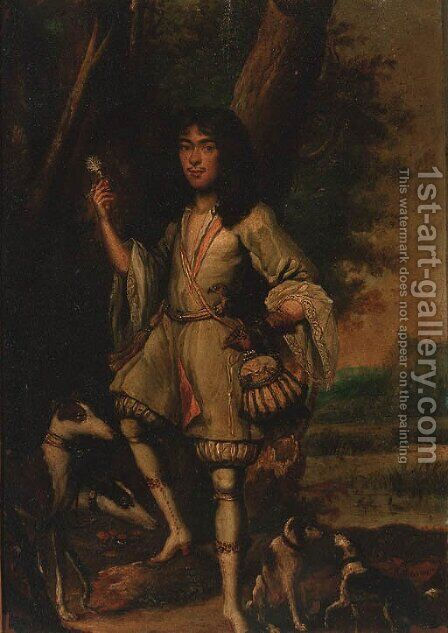 Portrait of a gentleman falconer by (after) Carel De Moor - Reproduction Oil Painting