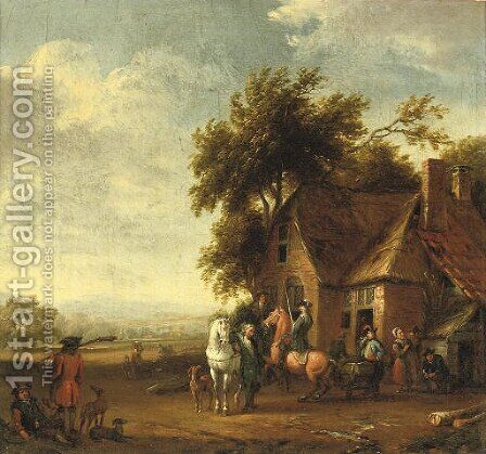 Soldiers resting outside an inn, a hilly landscape beyond by (after) Carel Van Falens Or Valens - Reproduction Oil Painting