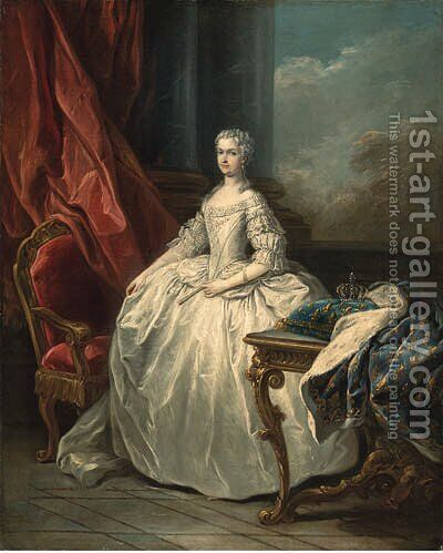 Portrait of Marie Leczinska, Queen of France (1703-1768), full-length, in a white dress, beside a table with a crown on a cushion by (after) Carle Van Loo - Reproduction Oil Painting