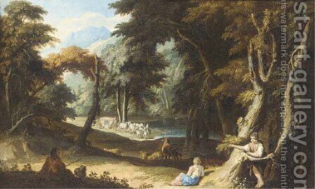 A wooded landscape with travellers by (after) Carlo Antonio Tavella, Il Solfarola - Reproduction Oil Painting