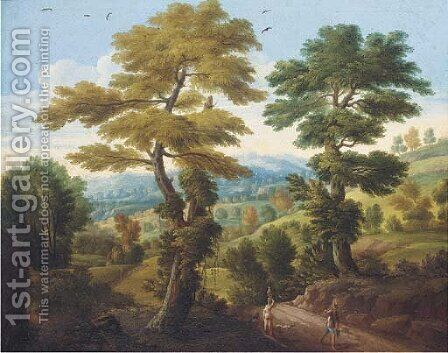 A wooded landscape with travellers on a path by (after) Carlo Antonio Tavella, Il Solfarola - Reproduction Oil Painting