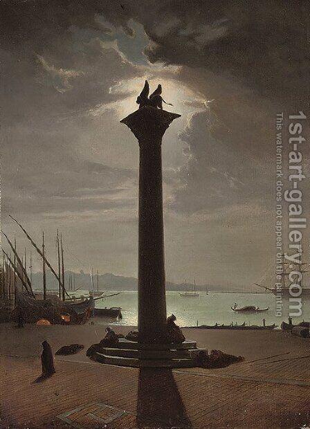 Figures sleeping at St. Mark's column, Venice by (after) Carlo Grubacs - Reproduction Oil Painting