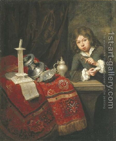 A boy blowing bubbles by a partially draped ledge by (after) Caspar Netscher - Reproduction Oil Painting