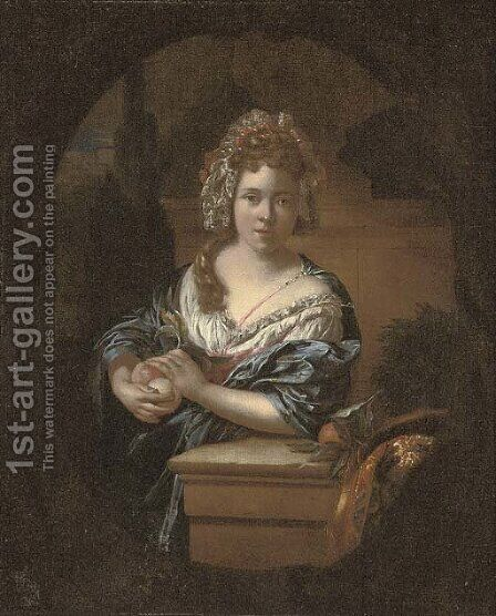 Portrait of a girl by (after) Caspar Netscher - Reproduction Oil Painting