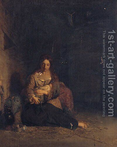 Mother And Child In A Stable by (after) Charles Baxter - Reproduction Oil Painting