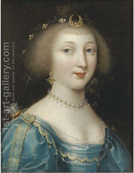 Portrait of a lady as Diana by (after) Charles Beaubrun - Reproduction Oil Painting