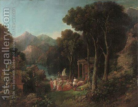 A mountainous wooded river landscape with a bacchanal by (after) Charles Caryl Coleman - Reproduction Oil Painting