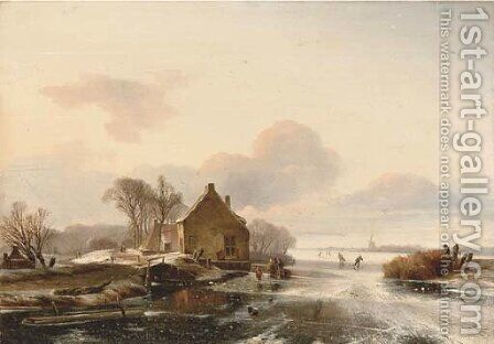 Skaters by a cottage in a Dutch winter landscape by (after) Charles Henri Joseph Leickert - Reproduction Oil Painting