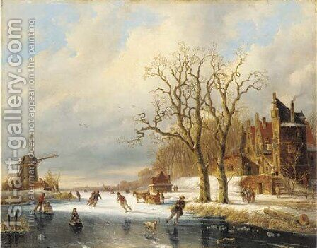 Skaters in a winter landscape 2 by (after) Charles Henri Joseph Leickert - Reproduction Oil Painting