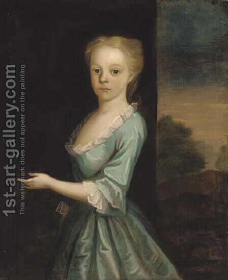 Portrait of a girl, standing three-quarter-length, in a turquoise dress, a landscape beyond by (attr. to) Jervas, Charles - Reproduction Oil Painting
