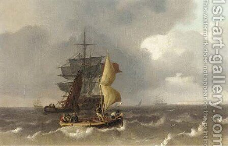 Transferring the passengers off a merchantman anchored in the Channel by (after) Charles Martin Powell - Reproduction Oil Painting
