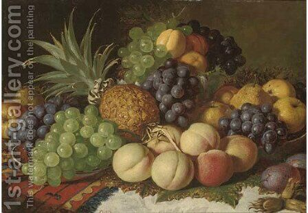 Grapes, peaches, pears, plums, apples, and a pineapple, on a ledge by (after) Charles Thomas Bale - Reproduction Oil Painting