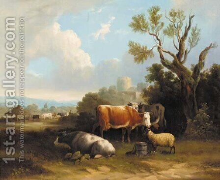 Cattle and sheep resting in a landscape, a castle beyond by (after) Charles Towne - Reproduction Oil Painting