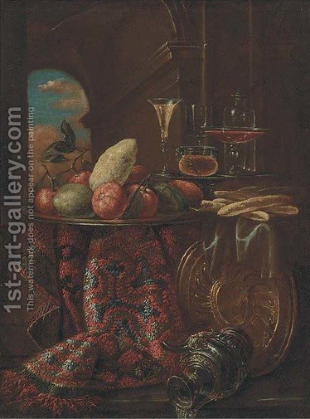 Oranges, limes, and a lemon on a dish by (after) Christian Berentz - Reproduction Oil Painting