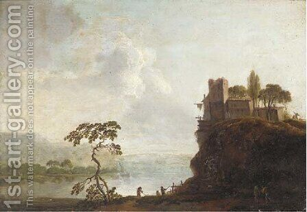 A river landscape with a hilltop village and anglers in the foreground by (after) Christian Hilfgott Brand - Reproduction Oil Painting