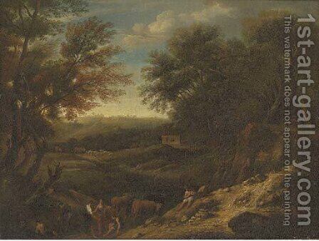 A wooded landscape with drovers and cattle at rest by a pond by (after) Christian Hilfgott Brand - Reproduction Oil Painting