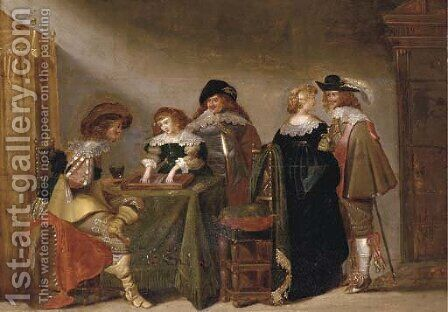 Elegant company playing backgammon in an interior by (after) Christoffel Jacobsz. Van Der Lamen - Reproduction Oil Painting