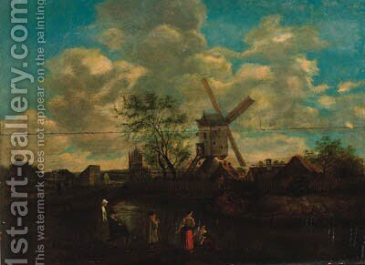 Peasants in a river landscape, a windmill beyond by (after) Claes Hals - Reproduction Oil Painting