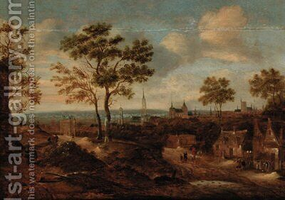 A wooded landscape with a view of a town by (after) Claes Molenaar (see Molenaer) - Reproduction Oil Painting