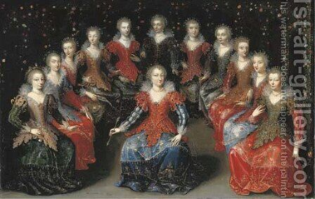 Twelve noblewomen seated in a garden by (after) Claude Deruet - Reproduction Oil Painting