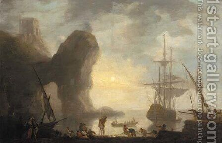 A harbour with a rock arch, a man-o'-war lowering its sails and fishermen pulling in their nets by (after) Claude-Joseph Vernet - Reproduction Oil Painting