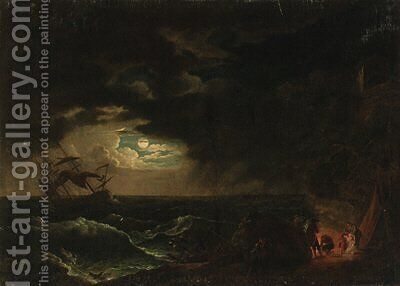 A stormy moonlit seascape with fishermen before a campfire by (after) Claude-Joseph Vernet - Reproduction Oil Painting