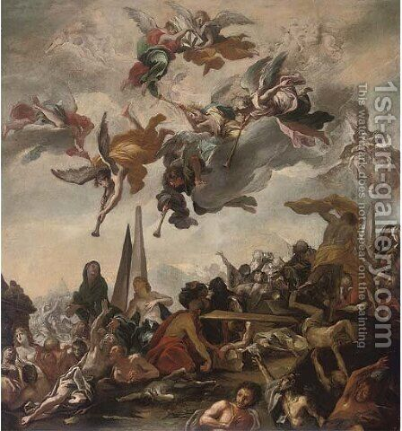 The Resurrection of the dead by (after) Claudio Francesco Beaumont - Reproduction Oil Painting