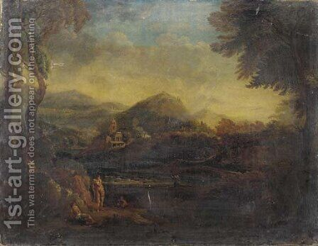 Figures in an Arcadian landscape by (after) Copplestone Warre Bamfylde - Reproduction Oil Painting