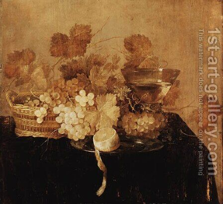 Grapes in a wicker Basket by (after) Cornelis Cruys - Reproduction Oil Painting