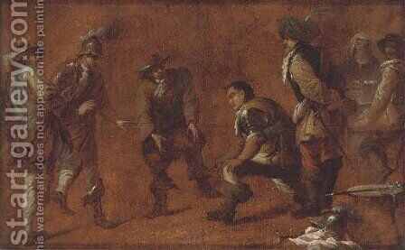 Soldiers playing a ball game by (after) Cornelis De Wael - Reproduction Oil Painting