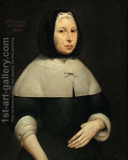 Portrait of a lady 2 by (after) Cornelius Janssens Van Ceulen - Reproduction Oil Painting