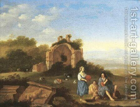 An Italianate landscape with peasants and cattle by classical ruins by (after) Cornelis Poelenburgh - Reproduction Oil Painting