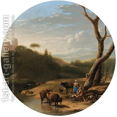An Italianate wooded landscape with a herdsman and a shepherdess, cattle and goats watering at a stream by (after) Cornelis Poelenburgh - Reproduction Oil Painting