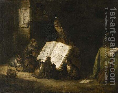 Cats singing from a music score with a monkey and an owl seated nearby, in an interior by (after) Cornelis Saftleven - Reproduction Oil Painting
