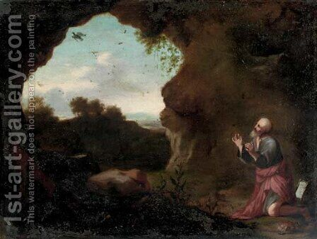 Saint Francis praying in the wilderness by (after) Cornelis Van Poelenburgh - Reproduction Oil Painting