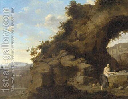 The Penitent Magdalen by (after) Cornelis Van Poelenburgh - Reproduction Oil Painting