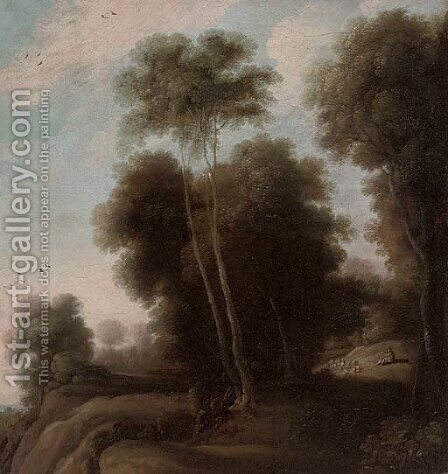 A wooded landscape with a shepherd and his flock on a track by (after) Cornelis Vroom - Reproduction Oil Painting
