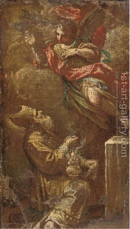 An Angel appearing to a Bishop in a vision a fragment by (after) Corrado Giaquinto - Reproduction Oil Painting