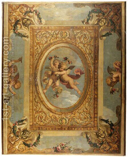 A trompe l'oeil ceiling painting with putti disporting by (after) Daniel The Elder Marot - Reproduction Oil Painting